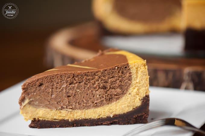 a piece of pumpkin cheesecake