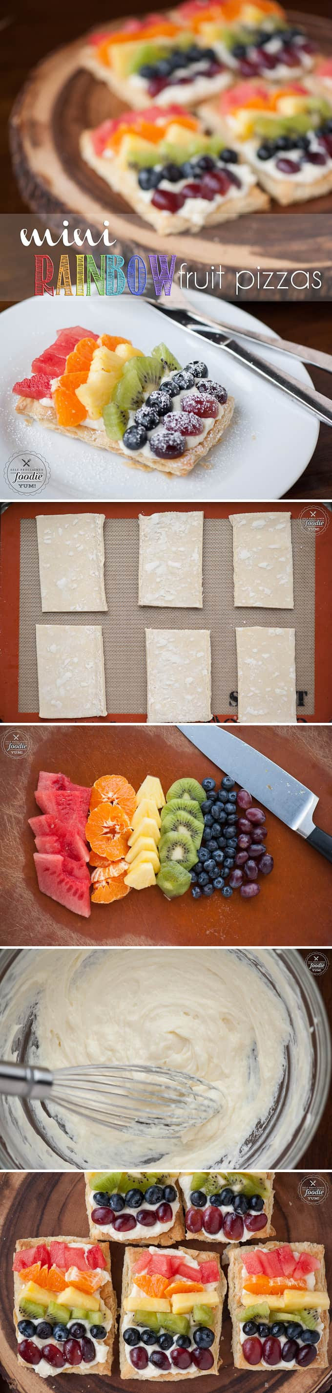 a collage of how to make mini fruit pizzas
