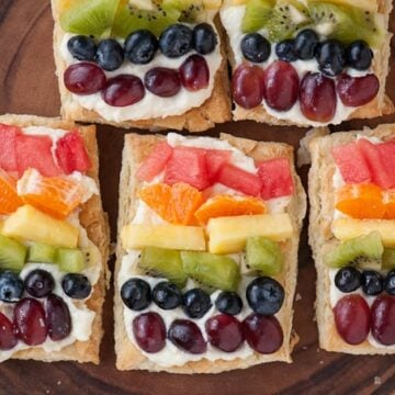fresh fruit on cream and puff pastry squares