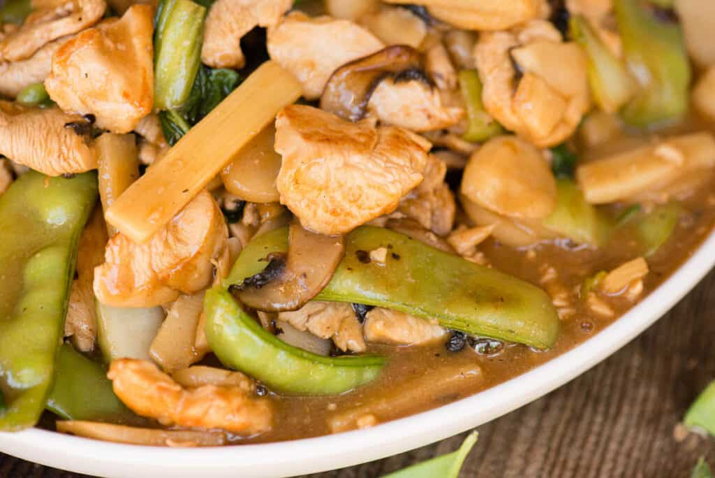 close up of homemade Moo Goo Gai Pan