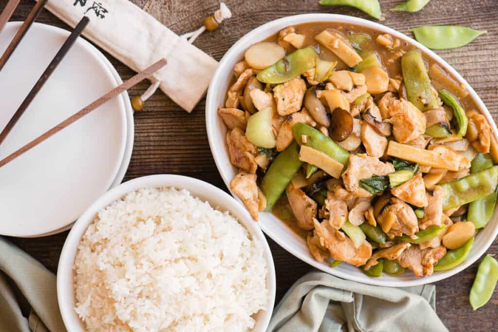 Moo Goo Gai Pan and white rice