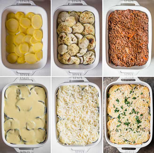 process photos of moussaka recipe