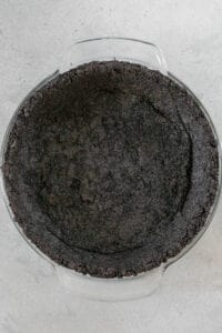 oreo crust pressed into pie dish
