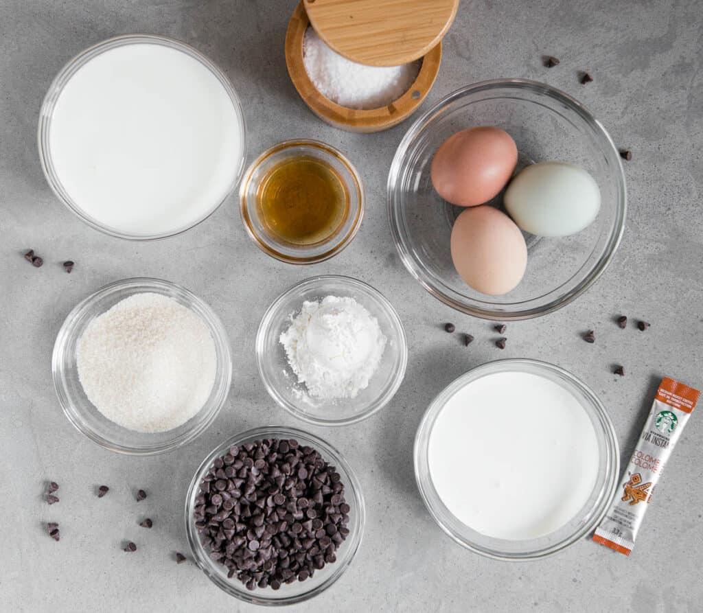 ingredients to make chocolate custard