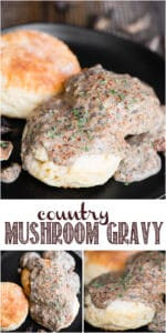 recipe for country mushroom gravy and biscuits