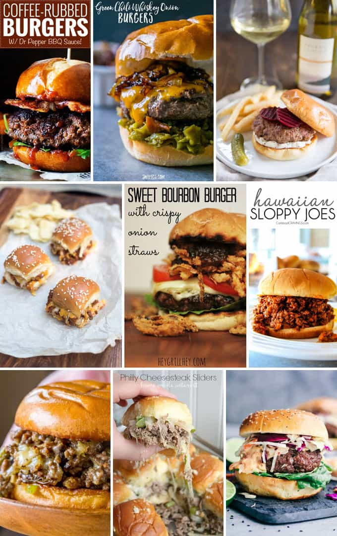 recipes for various burgers and sliders