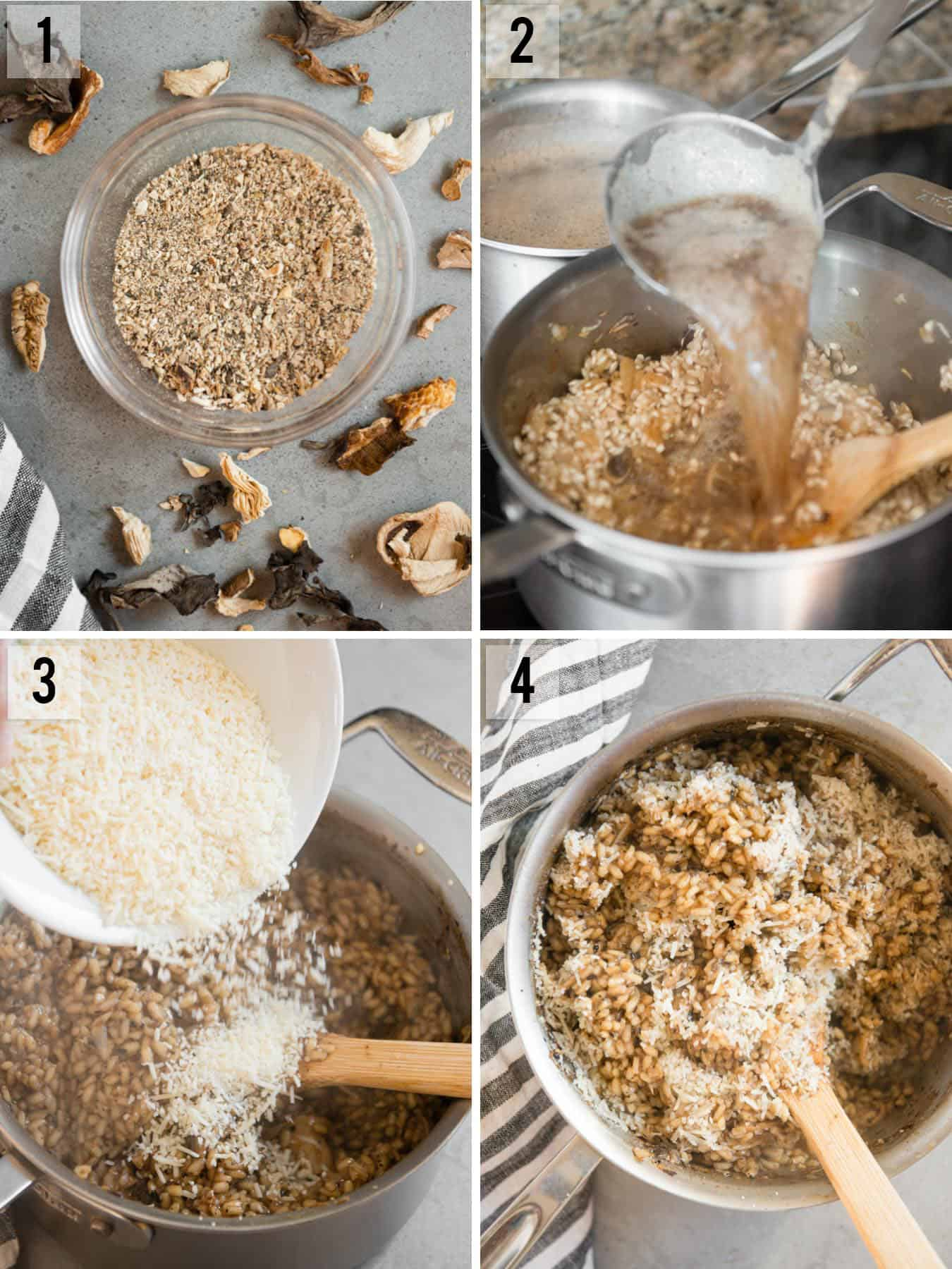 step by step photos of how to make Mushroom flavored Risotto