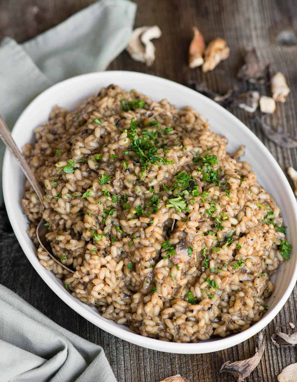 homemade Mushroom Risotto made with fresh and dried mushrooms
