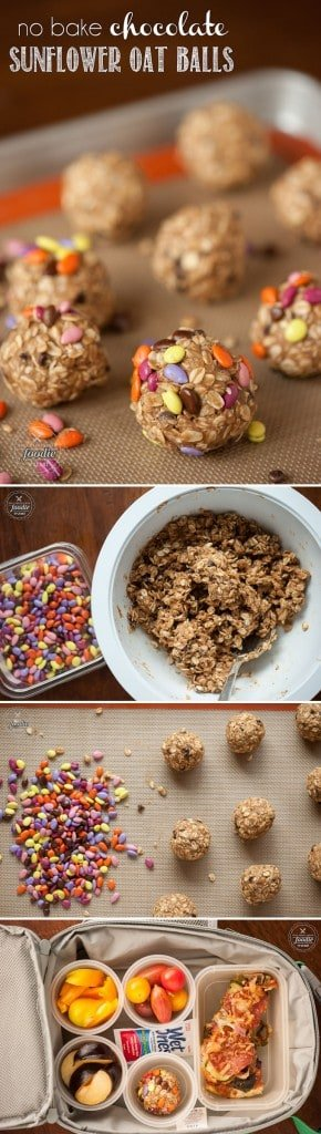 No Bake Chocolate Sunflower Oat Balls are healthy nut-free snacks that are high in protein and fiber and fit perfectly into your child\'s lunch box.