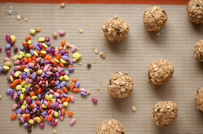 Chocolate Sunflower Oat Balls with chocolate covered sunflower seeds