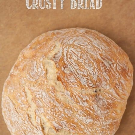 No bread machine or stand mixer needed for this chewy No-Knead Crusty Bread. All you need to make this easy recipe is time and a cast iron dutch oven.