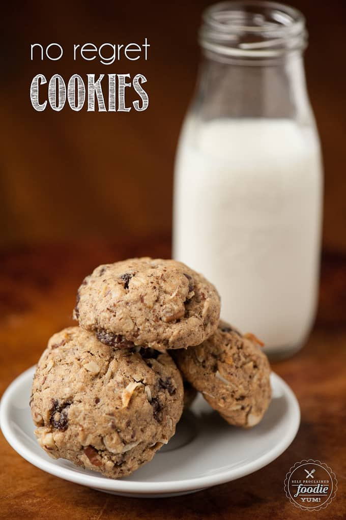These slimmed down No Regret Cookies satisfy any craving because they are perfectly sweet but also loaded with extra goodies like fiber and omega 3s.