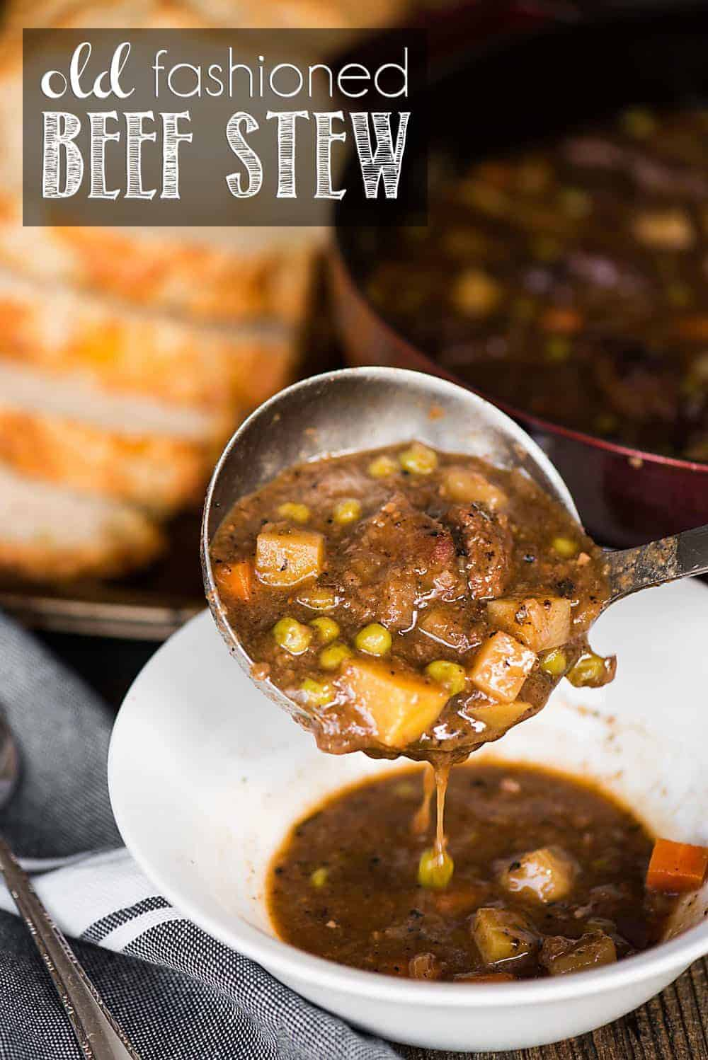 Old Fashioned Beef Stew is a hearty dinner with tender meat and soft potatoes that can be made in the crockpot or on the stove top.