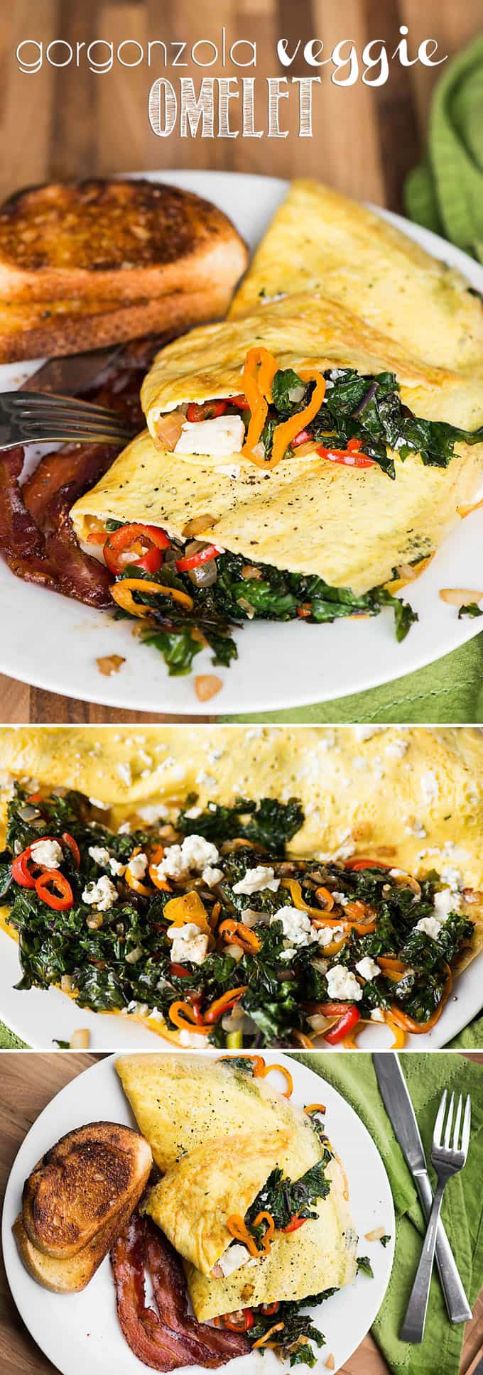 Start your morning with a healthy protein and vitamin packed breakfast. This tasty 3-egg Gorgonzola Veggie Omelet is packed with kale, peppers, and onion.