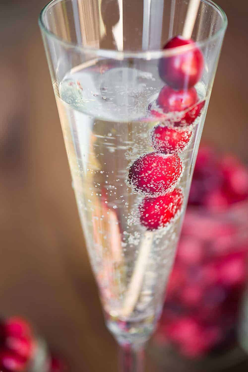 Prosecco Cocktail with cranberry.