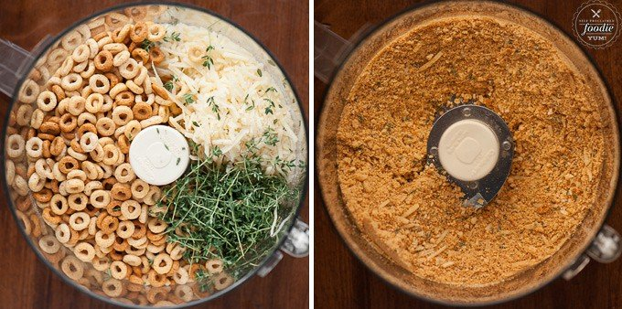 food processor before and after with cheerios and parmesan