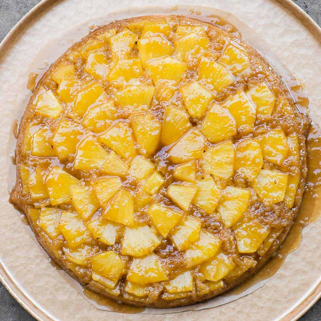 Top of Pineapple Upside Down Cake