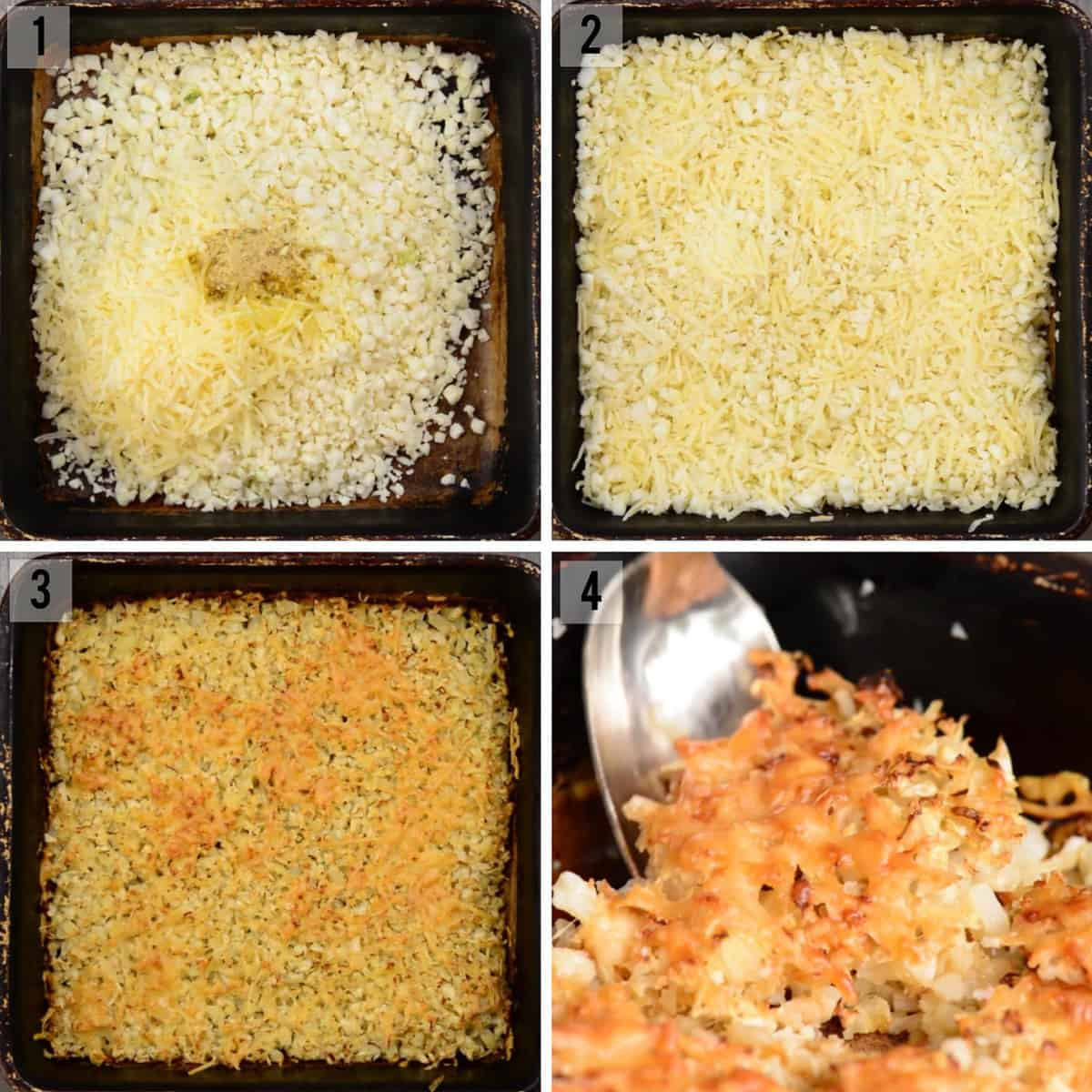 process photos for how to roast cauliflower rice