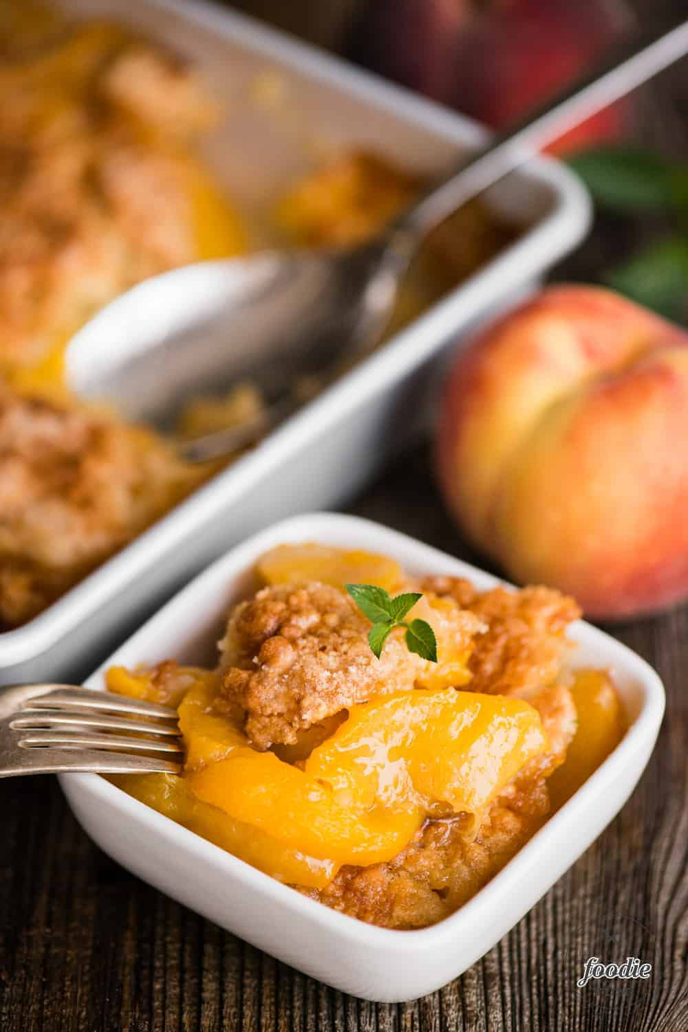 Easy southern peach cobbler in dish