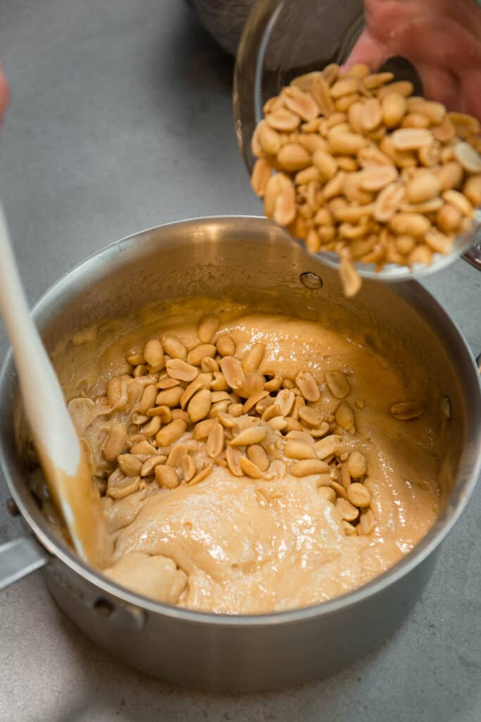 adding peanuts to brittle
