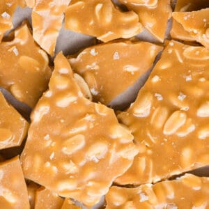 close up of homemade peanut brittle