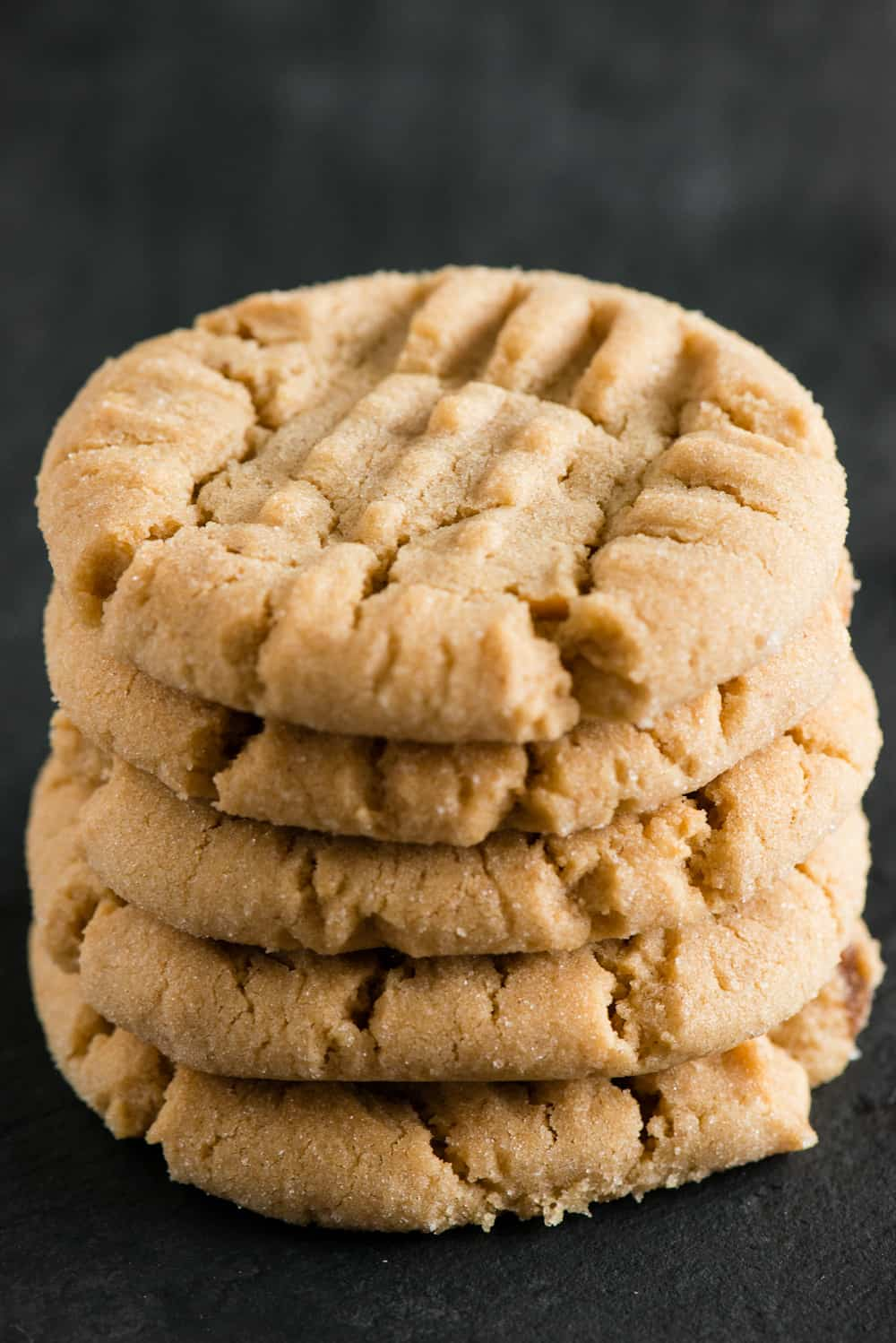 stack of homemade peanut butter cookies