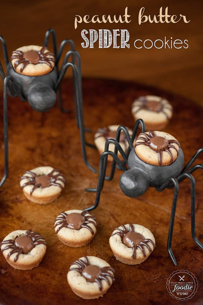 Peanut Butter Spider Cookies are perfect Halloween cookies because everyone loves a good peanut butter and chocolate recipe!