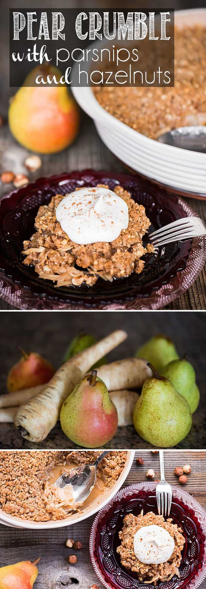 Pear Crumble with shredded parsnips and toasted hazelnuts is an easy fall dessert recipe that is similar to a cobbler, crisp, or pie.
