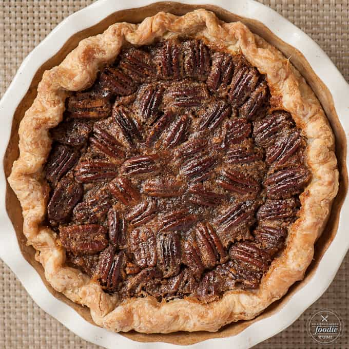 a pecan pie sitting on top of a table