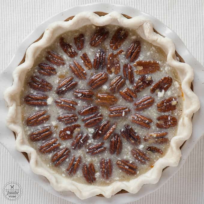 pumpkin pecan pie with pecans