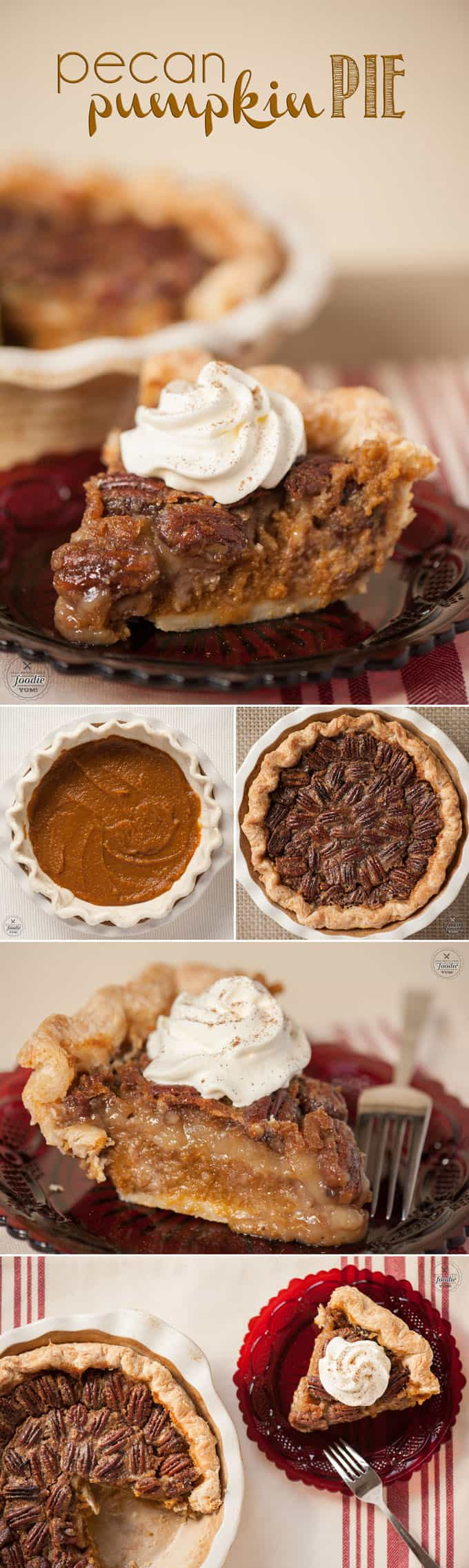 Pecan Pumpkin Pie combines the best of both worlds into one decadent and perfectly sweet holiday pie that is perfect for Thanksgiving Dinner.