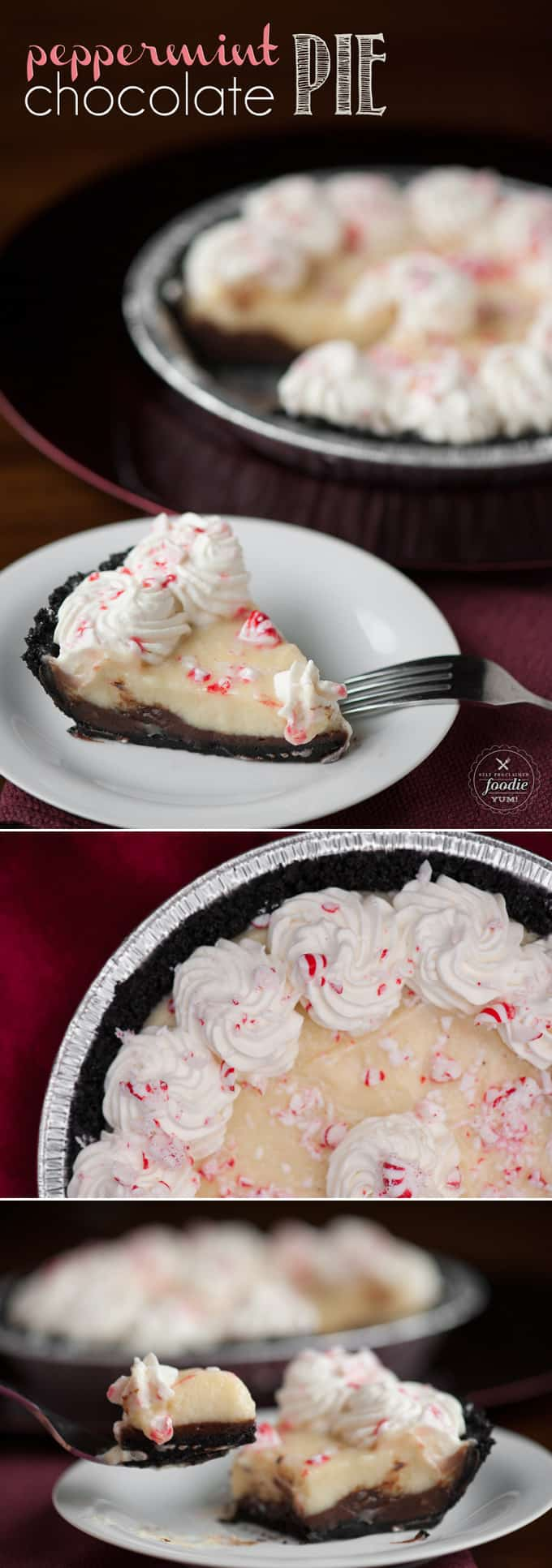 This undeniably delicious and decadent two layer Peppermint Chocolate Pie is the best chilled holiday dessert you will find.