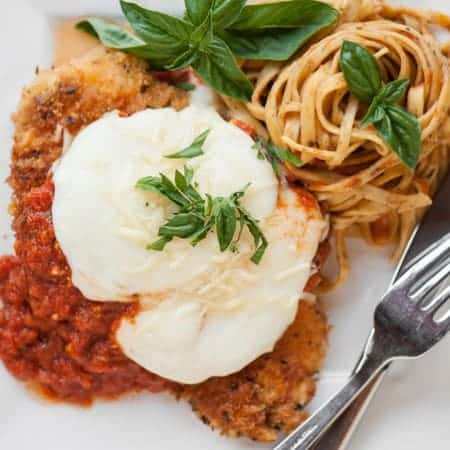 I made the most Perfect Chicken Parmesan that's full of flavor, only takes minutes to cook up for a quick and easy dinner, and is the best comfort food!