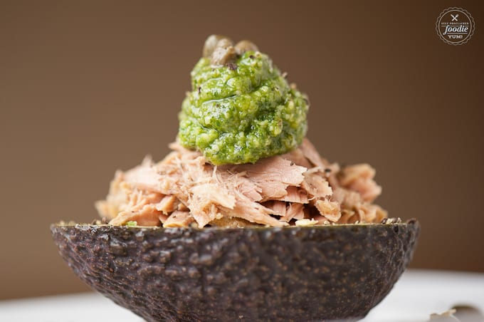 These unbelievably delicious Pesto Tuna Avocado Bowls are an easy and healthy lunch low in carbs and high in healthy fats and omega 3s.