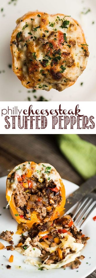 Philly Cheesesteak Stuffed Peppers basically combine all of your favorite Philly Cheesesteak flavors in one easy to make low carb meal. #stuffedpeppers #phillycheesesteak #keto