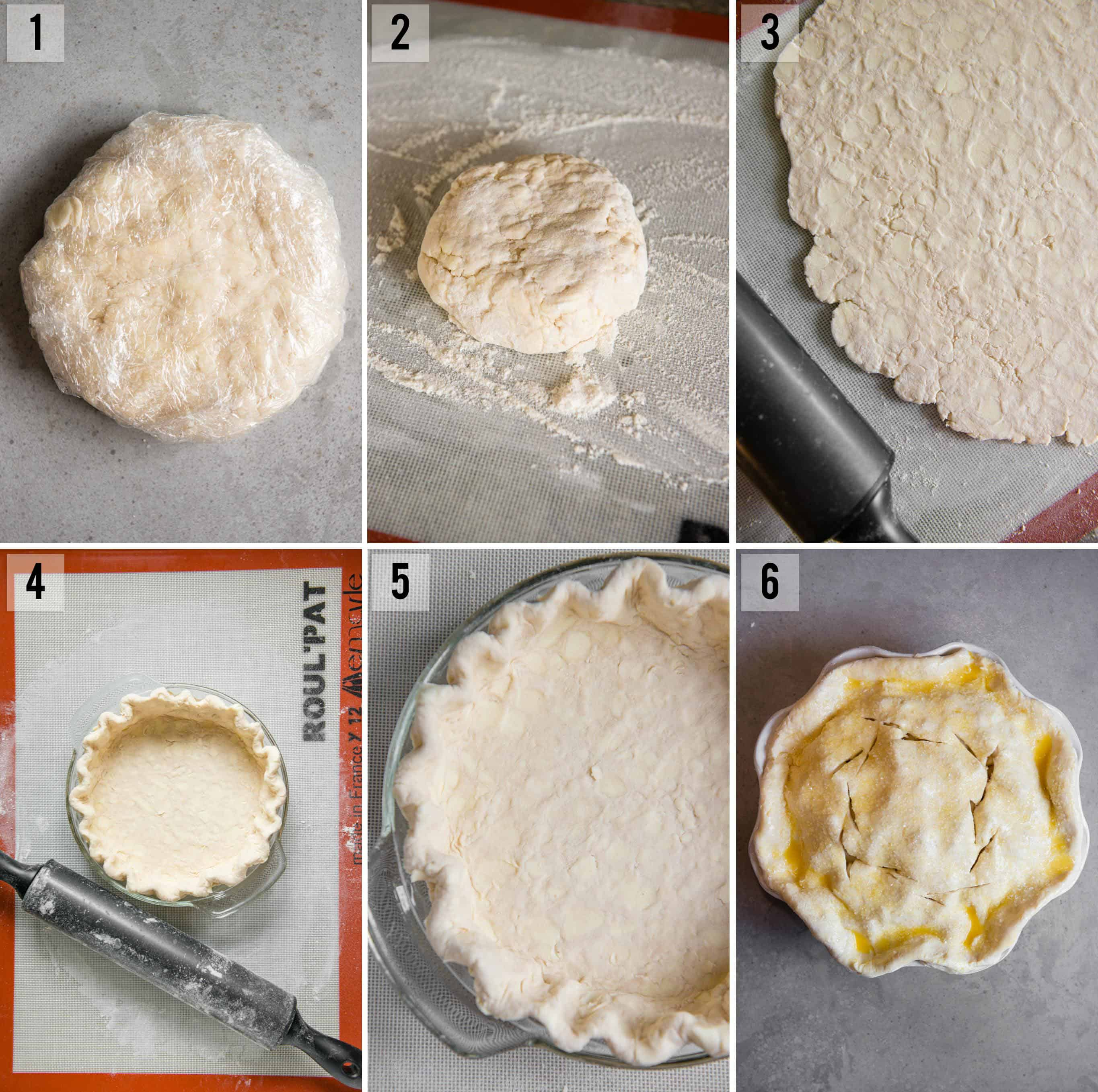 step by step photos of how to make and roll homemade butter pie crust