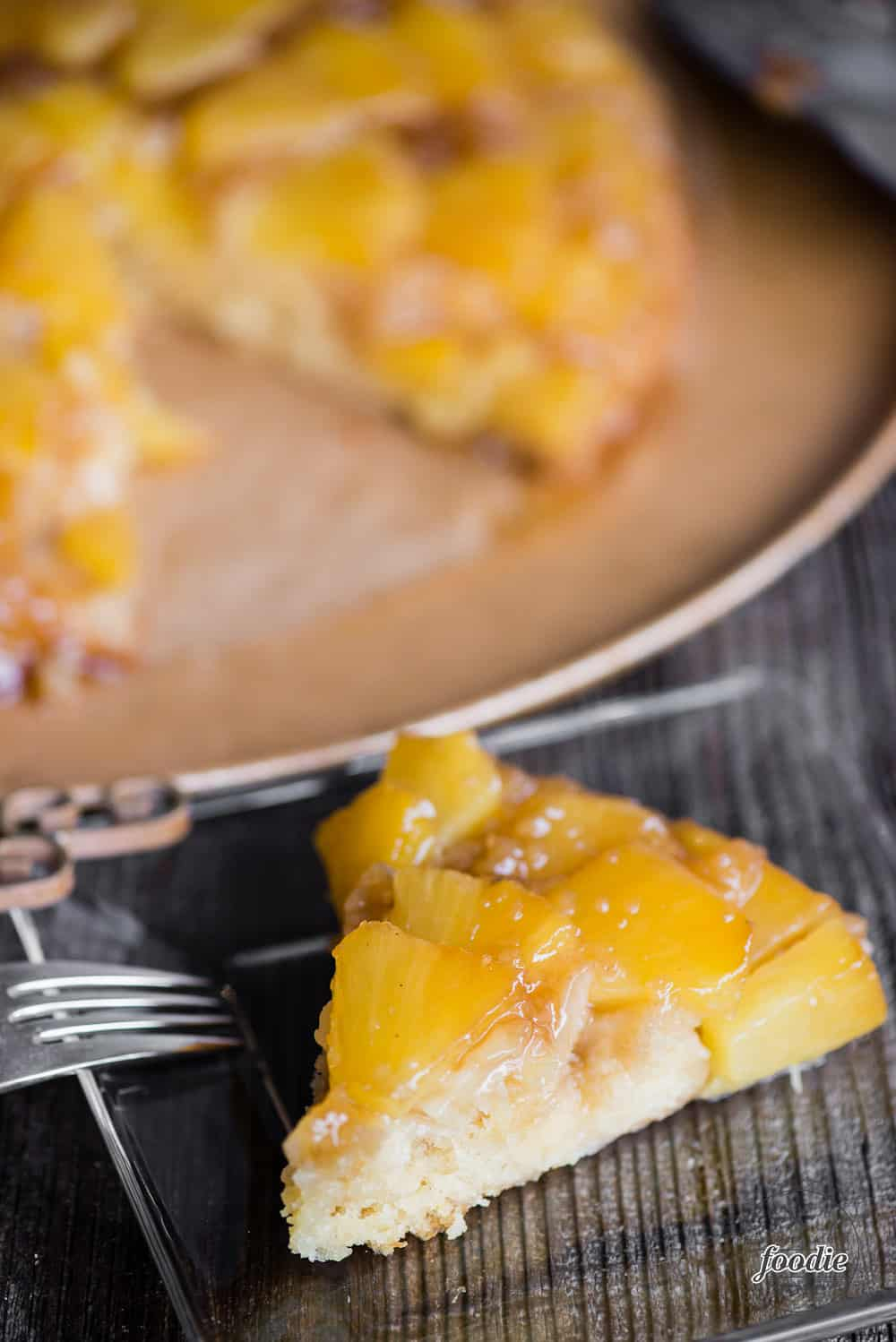 homemade cake with fresh pineapple