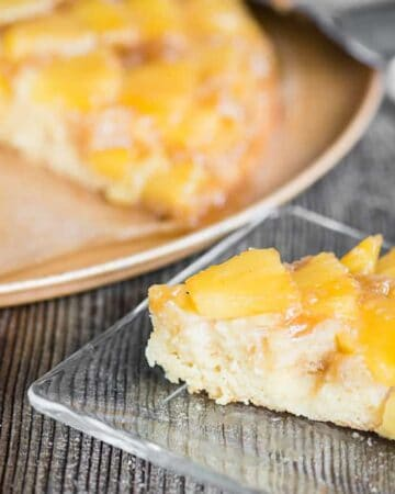 Fresh Pineapple Upside Down Cake recipe in a cast iron skillet