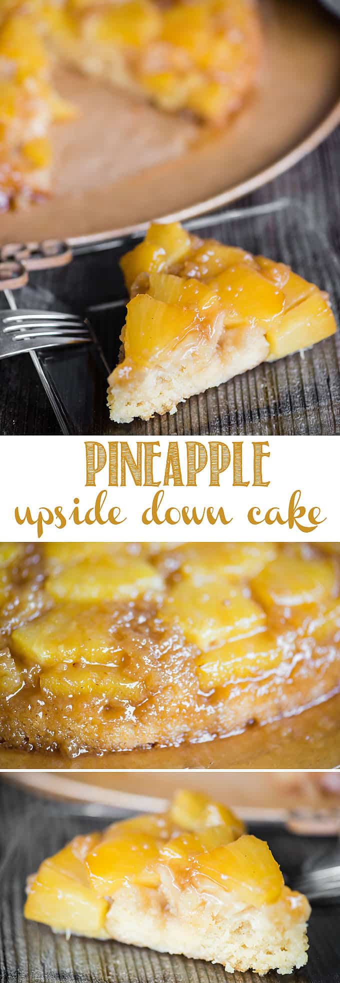 Pineapple Upside Down Cake, made with fresh pineapple and tepache, a type of pineapple hard cider, is the most delicious dessert you can make in a cast iron skillet! A layer of sweet and juicy pineapple pieces are smothered in a super sweet topping. Then the most moist and flavorful cake cooks on top. #pineappleupsidedowncake #upsidedowncake #castiron #pineapple #tepache