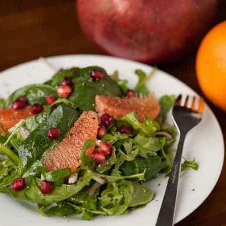 Pomegranate Orange Arugula Spinach Salad