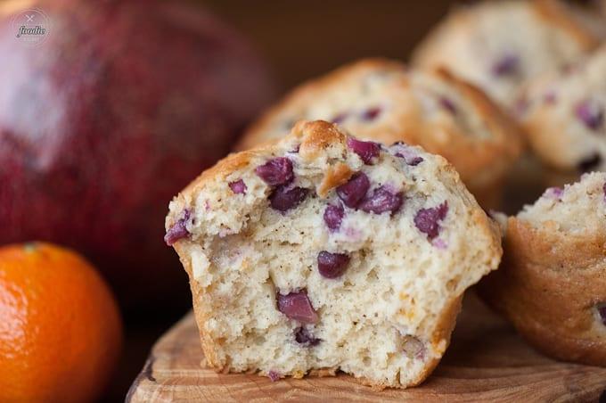 pomegranate orange muffin split in half