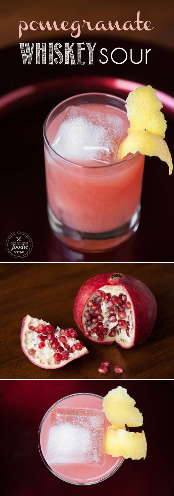If you want a lip smacking cocktail that's perfect for the winter holidays, mix up an easy to make Pomegranate Whiskey Sour.