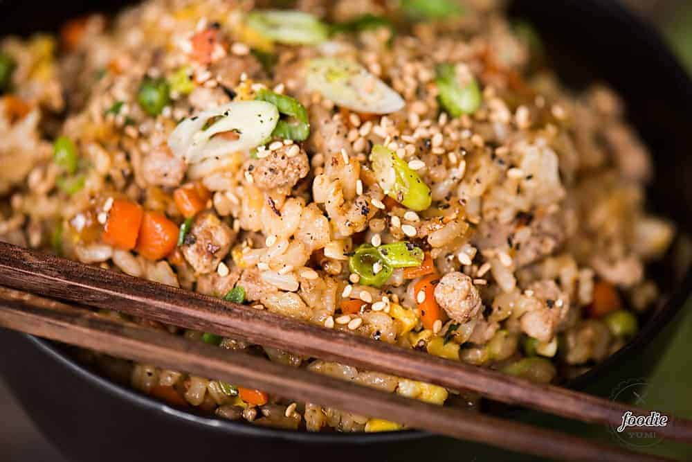 How to make pork fried rice with egg
