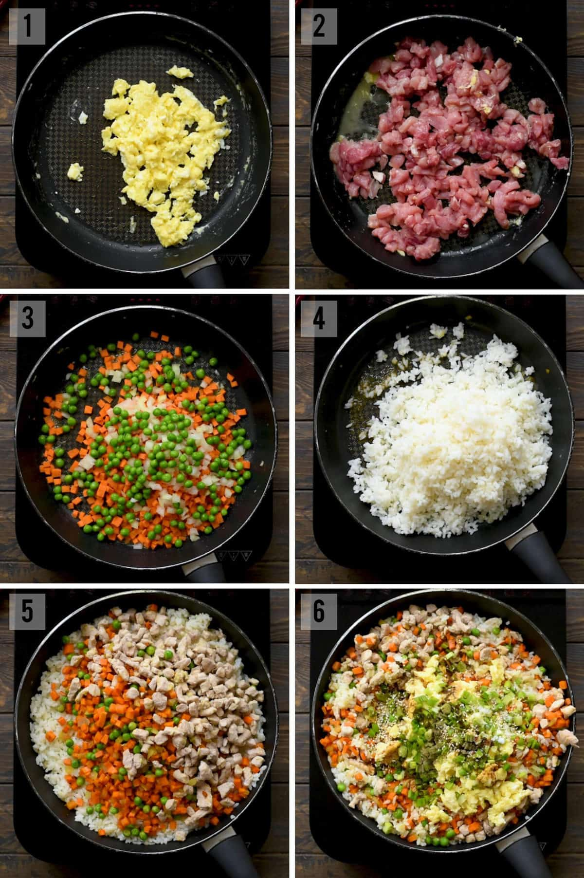 Step by step photos of how to make pork fried rice