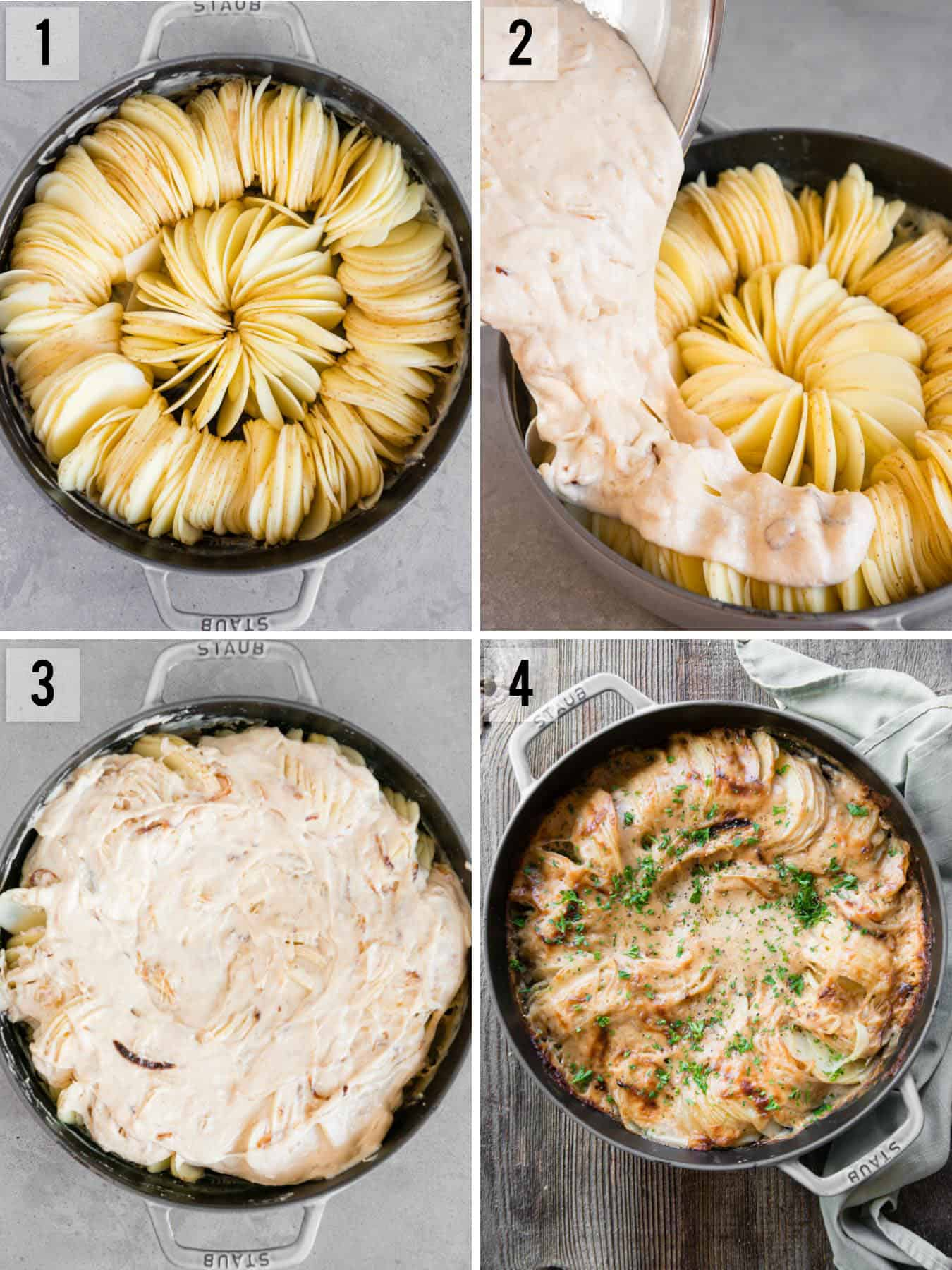 step by step photos on how to make Potatoes Au Gratin