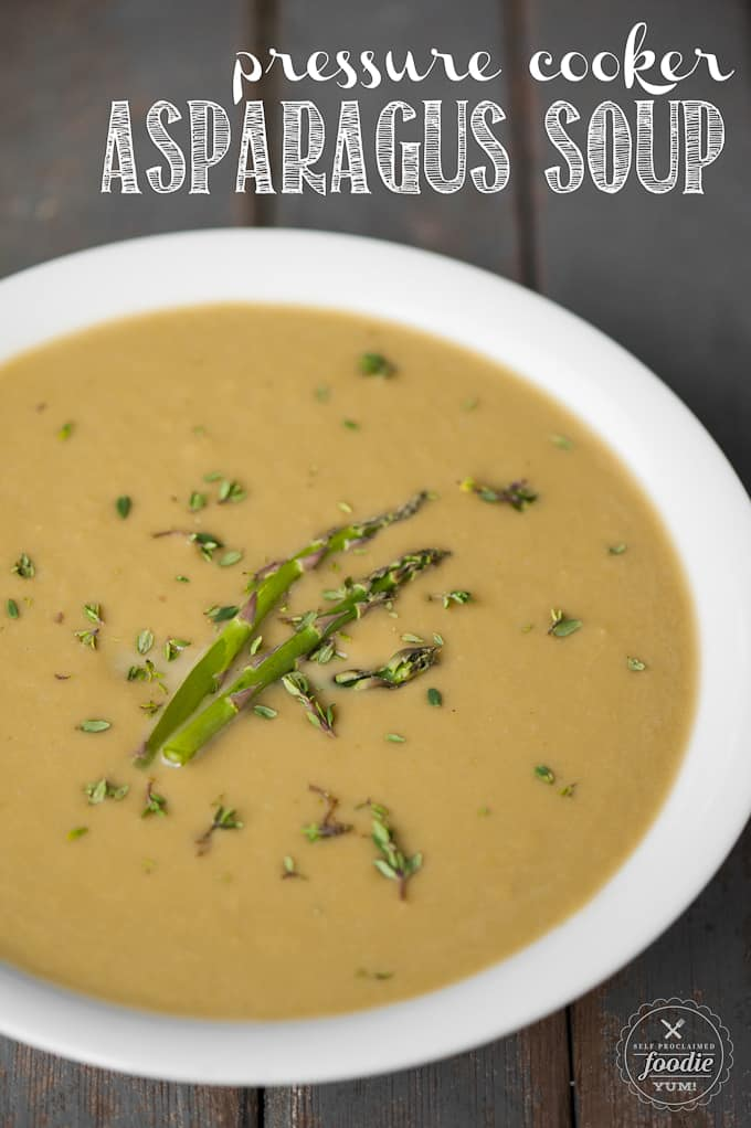 A bowl of pressure cooker asparagus soup