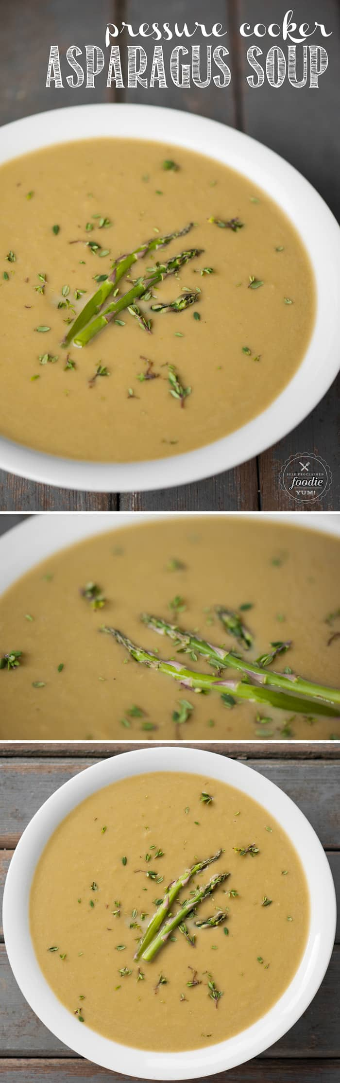 Pressure Cooker Asparagus Soup is a light and healthy spring or summer meal that takes only minutes to prepare and cook. Serve it as a meal or as a side!