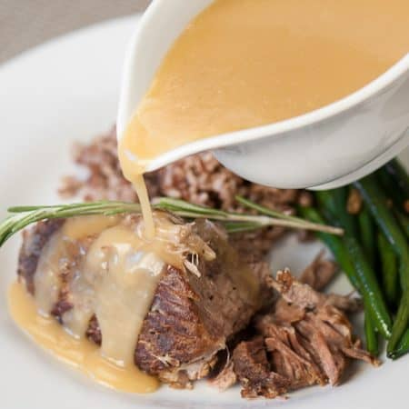 Instead of braising in the oven all day, enjoy healthy Pressure Cooker Pork Roast with Apple Gravy as a perfect fall dinner in little more than an hour.
