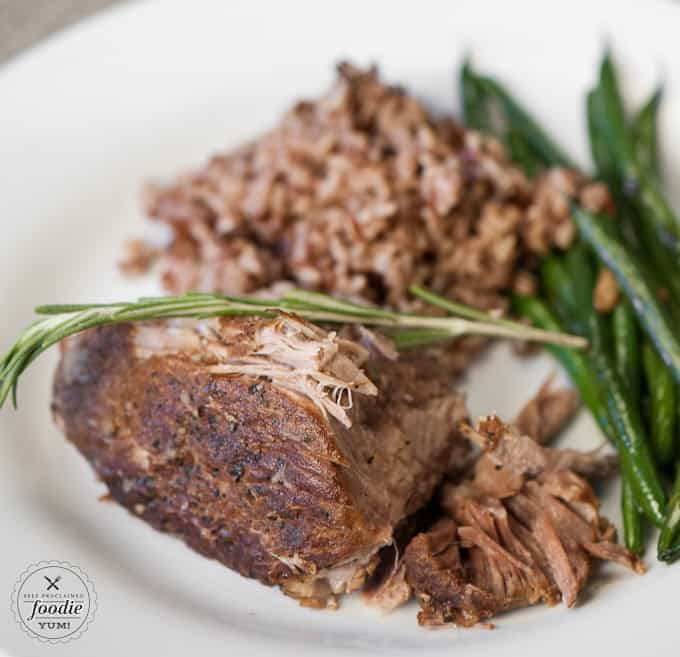 Braised pork with wild rice and green beans