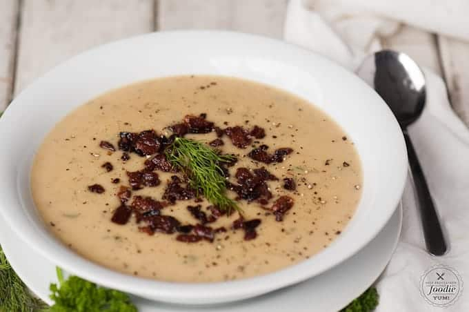 When the weather is cold and dark outside, few meals satisfy better than this comforting Pressure Cooker Potato Leek Soup topped with crisp bacon.